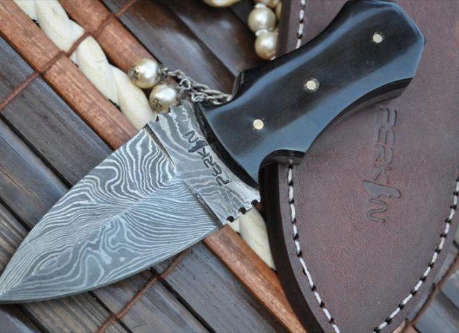 CUSTOM MADE DAMASCUS DOUBLE EDGE HUNTING KNIFE - AN ART