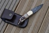 CUSTOM MADE DAMASCUS FOLDING KNIFE WITH BONE, STAG & WOOD IN HANDLE