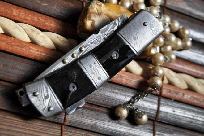 Custom Made Damascus Folding Knife - Work of Art By Koobi