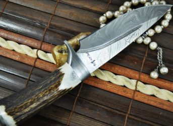 Custom Made Damascus Hunting Knife