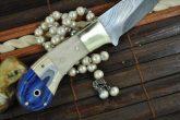 CUSTOM MADE DAMASCUS HUNTING KNIFE BONE & MICARTA HANDLE