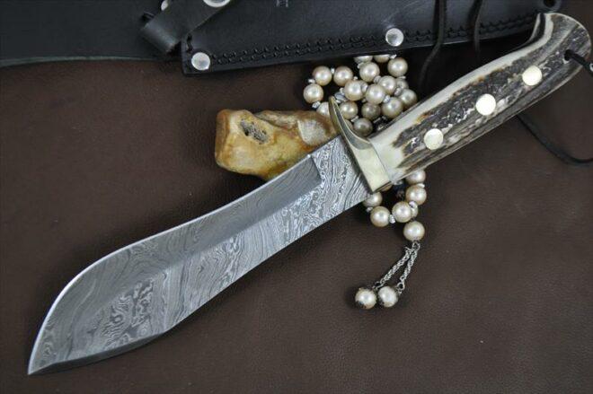 Custom Made Damascus Bowie Knife