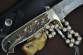 CUSTOM MADE DAMASCUS HUNTING KNIFE BOWIE KNIFE - PT