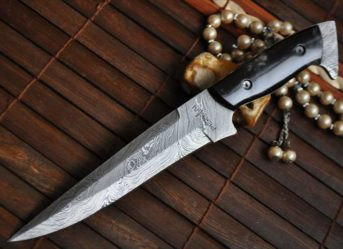 CUSTOM MADE DAMASCUS HUNTING KNIFE BUFFALO HORN HANDLE