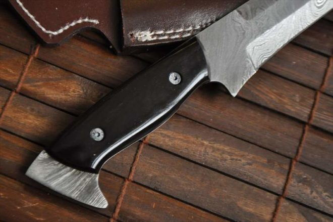 Custom Handmade Damascus Hunting Knife with Buffalo Horn Handle