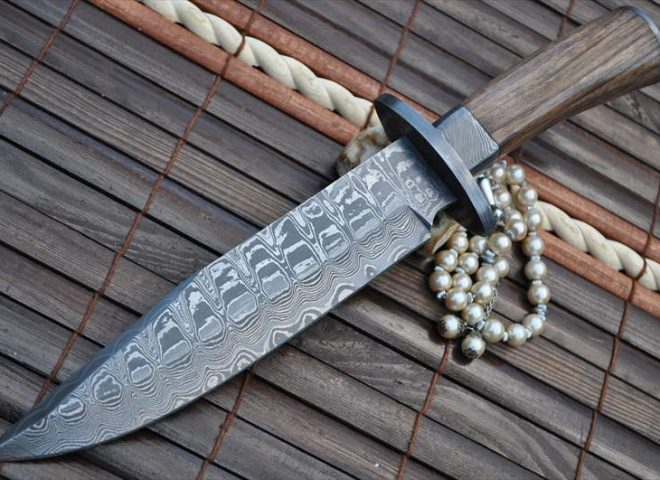 CUSTOM MADE DAMASCUS HUNTING KNIFE BURL WOOD - WORK OF ART