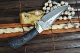 CUSTOM MADE DAMASCUS HUNTING - KNIFE BUSHCRAFT KNIFE WITH SHEATH
