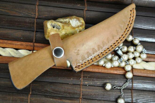 Custom Made Damascus Hunting With Handmade Leather Sheath