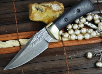 CUSTOM MADE DAMASCUS HUNTING - KNIFE BUSHCRAFT KNIFE WITH SHEATH