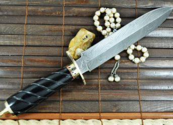CUSTOM MADE DAMASCUS HUNTING KNIFE - DOUBLE EDGE- BRASS POMMELL