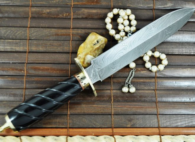Double Edge Damascus Hunting Knife with Brass Guard and Pommel