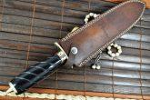 CUSTOM MADE DAMASCUS HUNTING KNIFE - DOUBLE EDGE- BRASS POMMELL
