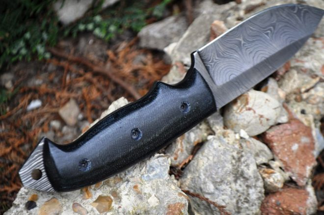 Custom Made Damascus Hunting Knife - Full Tang & Micarta Handle