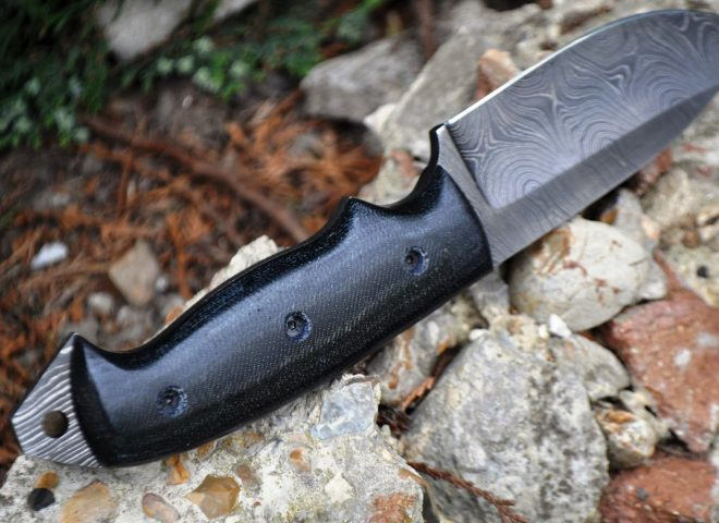 CUSTOM MADE DAMASCUS HUNTING KNIFE FULL TANG & MICARTA HANDLE