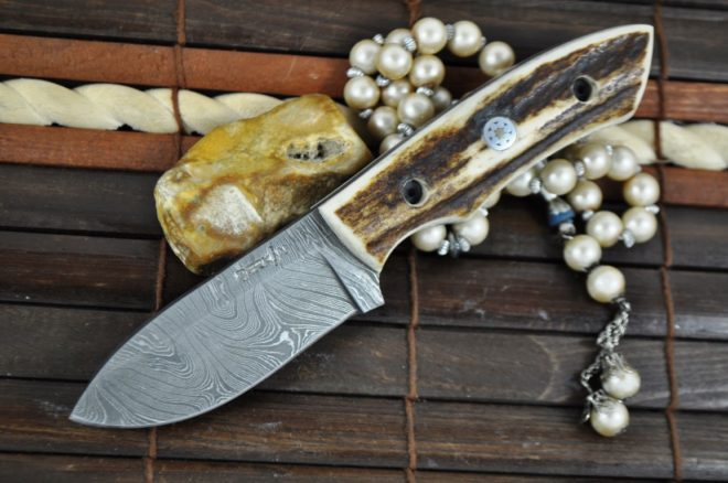 Handmade Damascus Steel Hunting Knife with Stag Antler Handle