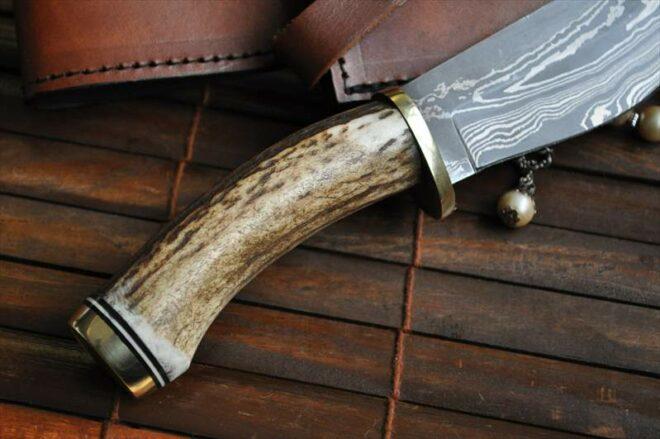Stag Antler Handler Knife – Damascus Hunting Knife – Bushcraft Knife