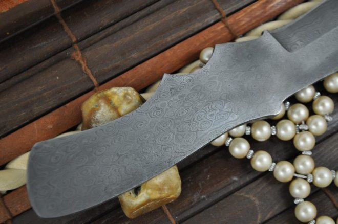 Custom Made Hand Forged Damascus Blank Blade - 8.5 Inches