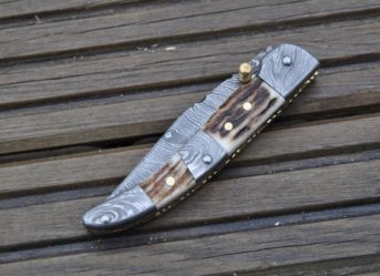 Damascus Folding Knife With Pouch & Liner Lock Mechanism