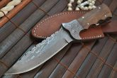 DAMASCUS HANDMADE HUNTING KNIFE FULL TANG BLADE REAL ART