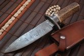 DAMASCUS HUNTING & BOWIE KNIFE HANDMADE AMERCIAN STAG ANTLER HANDLE