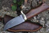 Damascus Hunting Knife with Burl Wood & Mosaic Pins Handle - AR1009