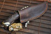 Stag Antler Handle Knife with Handmade Scabbard