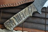 DAMASCUS HUNTING KNIFE FULL TANG RAM'S HORN WORK OF ART