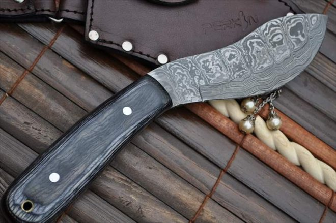 Damascus Hunting Knife - Nessmuk Knife With Sheath
