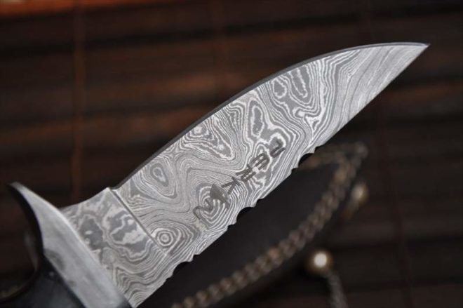 Damascus Hunting Knife With File Work In Spine