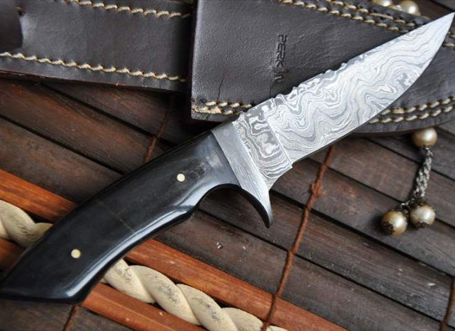 DAMASCUS HUNTING KNIFE WITH FILE WORK IN SPINE – PERKINS ENGLISH HANDMADE KNIVES