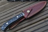 Damascus Hunting Knife With Leather Sheath