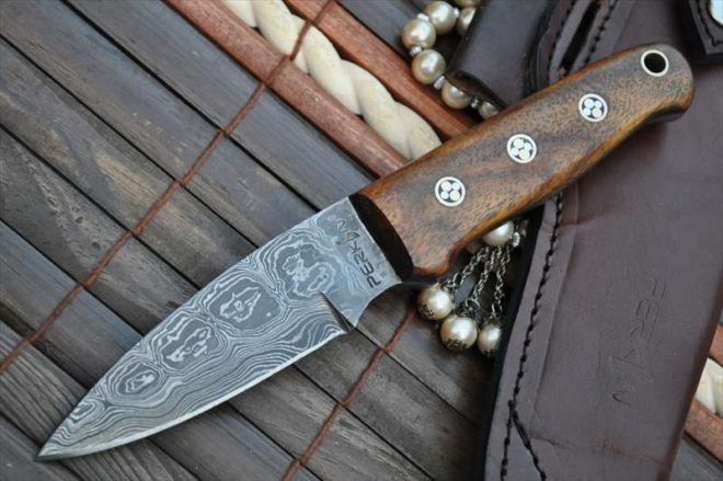 Damascus Hunting Knife With Sharpener And Sheath