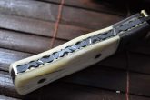 Handcrafted Damascus Hunting Knife - Folding Knife With Leather Pouch