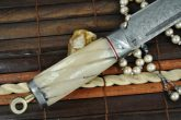 HANDCRAFTED DAMASCUS HUNTING KNIFE MAMMOTH BONE HANDLE