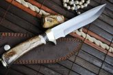 440c Steel Handcrafted Hunting Knife With American Deer Antler Handle