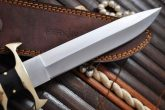 HANDCRAFTED HUNTING KNIFE 440C STEEL BEAUTIFUL BULL HORN & BRASS HANDLE