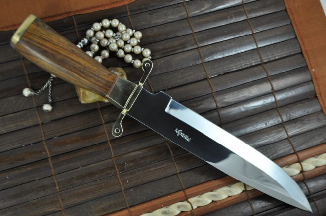 440c Steel Hunting Knife with Burl Wood & Brass Handle