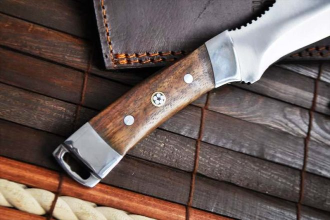 Handcrafted Hunting 440c Steel Knife with Burl Wood Handle