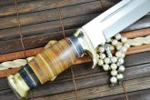 12.5 Inches Fixed Blade Bowie Knife with Leather Handle