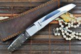 440c Steel Tanto Blade Knife with Ram's Horn & Mirror Polish