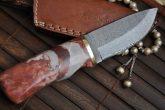 Handcrafted Bushcraft Knife - Damascus Steel & Granite Handle