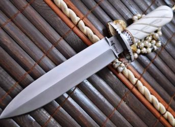 Handcrafted Double Edge Hunting Knife with 440c Steel & Bone Handle