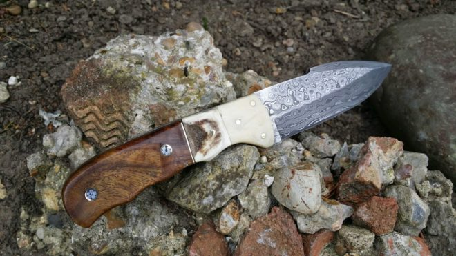 Handmade Damascus Bushcraft Knife - BT14