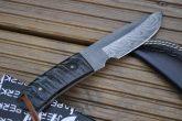 HANDMADE DAMASCUS BUSHCRAFT KNIFE - RAM'S HORN HANDLE