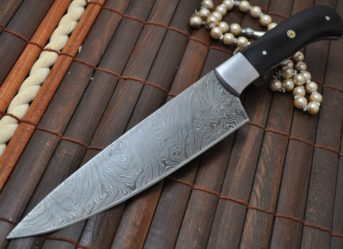 HANDMADE DAMASCUS HUNTING /CHOPPER KNIFE BUFFALO HORN HANDLE