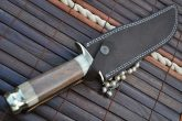 Damascus Hunting Knife with Mammoth Bone & Olive Wood Handle