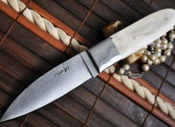 CAMEL BONE HANDLE - HANDMADE DAMASCUS HUNTING KNIFE- Perkin