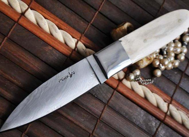 Handmade Damascus Hunting Knife With Camel Bone Handle