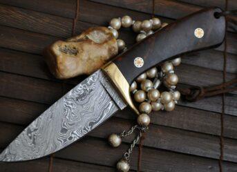 HANDMADE DAMASCUS HUNTING KNIFE FULL TANG - BEAUTIFUL CAMPING KNIFE - HT1600