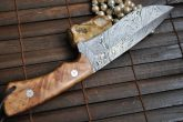 Handmade Damascus Full Tang Hunting Knife with Leather Sheath